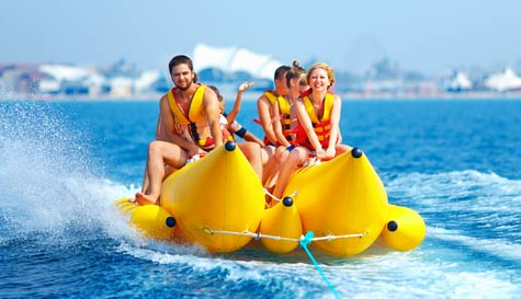 banana boating in benidorm stag party activity 1