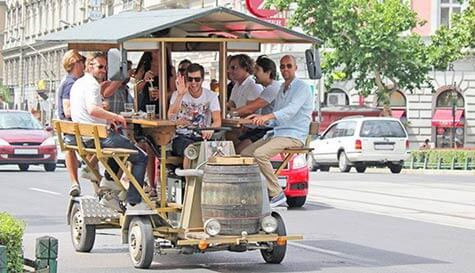 beer bicycle in budapest stag party activity 1
