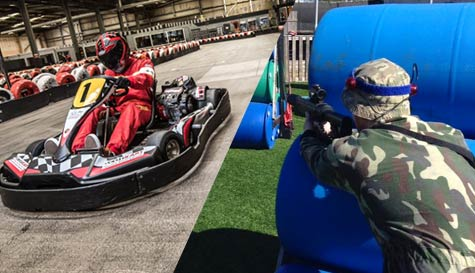 go karting & laser warfare