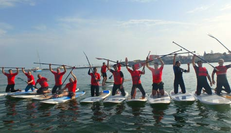 paddleboarding in lisbon stag party activity 1