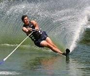 water skiing action on your stag weekend party
